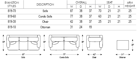 Sofa Sizes evanston sofa - sofas & chairs of minnesota