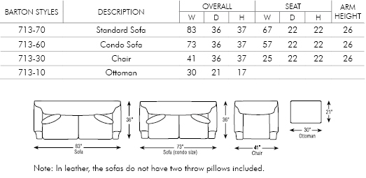 Sofa Sizes barton sofa - sofas & chairs of minnesota
