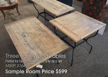 Three Barn Wood Tables