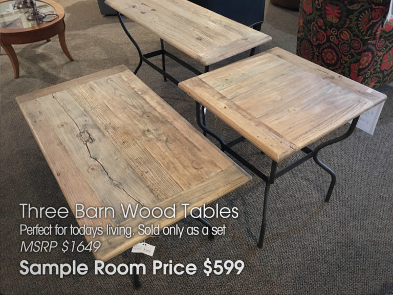 3 Barnwood Tables in the Sample Room at Sofas & Chairs