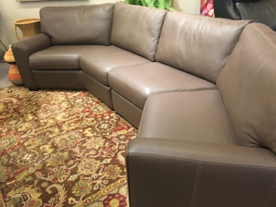 American Leather two piece angled sectional on clearance